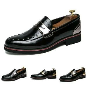 Mens Slip on Pointy Toe Shiny Rivet Nightclub Youth Casual Fashion Leather Shoes