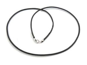 """Black cowhide leather necklace cord/925 Sterling silver findings/16""""-24""""/1-4mm"""