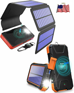 10,000-20,000mAh Wireless Fast Phone SOLAR Charger+Detachable Panels Sealed