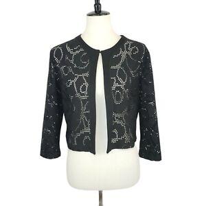 Grayse Black See-through Lace Mesh Cover-up Bolero Cardigan Small