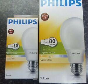 2 X Philips eXtra Soft ES E27 Energy Saving Lamp Softtone Wamwhite Long Life