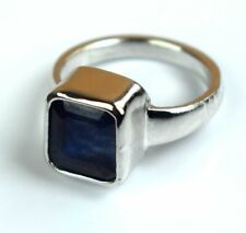 925 Unisex Sterling Silver Ring Natural Emerald Cut Blue Sapphire Gemstone