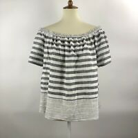 Lucky Brand Boho Top Womens XL Black White Stripe Off Shoulder Blouse Peasant