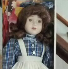 "Boxed Majestic Collection ""Blue Plaid"" Victorian Porcelain 16"" Doll"