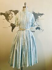 New listing Size S 1950s Vintage Blue White Day Dress Circle Skirt Full Fit Flare Pin Up 50s