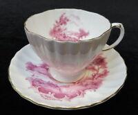 Vintage FOLEY BONE CHINA England TEA CUP & SAUCER Pink Landscape Scenery Gold Tr