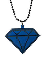 Good Wood New York Blue 8 Bit Wooden Diamond Pendant Ball Necklace NWT