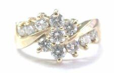 Fine Round Cut Diamond Circular Bypass Yellow Gold Jewelry Ring 1.00Ct