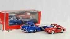 1954 Mercedes-Benz Race Car Transporter Blue Wonder Set With 300 Sl 1:64 Norev