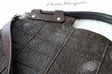 "Authentic SALVATORE FERRAGAMO stitched-leather handbag Large 18""Lx4-1/2""Wx16""H"