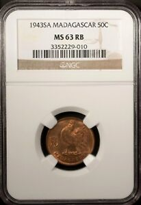 Madagascar  50 Centimes 1943 SA NGC MS 63 RB UNC Bronze Rooster