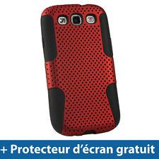 Noir Étui Housse silicone et Mesh Maille Rouge pour Samsung Galaxy S3 III i9300