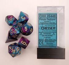 Chessex 7 Dice Set Gemini Purple-Teal w/ Gold CHX 26449 for D&D & D20