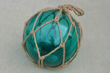 "Aqua Blue Blown Glass Float Fishing Buoy Ball With Fishnet 12"" Sf-1029"