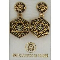 Damascene Gold Star of David Design Hexagon Drop Earrings Midas of Toledo Spain
