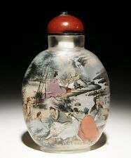 """3.48"""" Fantasy Handmade Two-Sided Figure Inside Painted Glass Snuff Bottle"""