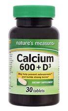 Nature's Measure Calcium 600 + Vitamin D3 Supplement Breast Bone Health 30 Ct