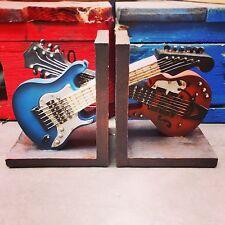 Vintage Guitar Bookends Musical Shelf Organiser CD Office Study Heavy 12500