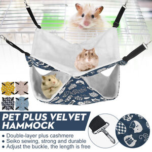Pet Hamster Hammock Hanging Nest Sleeping Bed Rat Bird Parrot Cushion 2 Layer