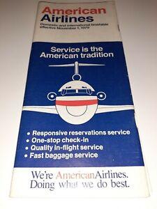 ⭐ Vintage American Airlines Nov 1 1979 System Timetable Travel Brochure Ephemera
