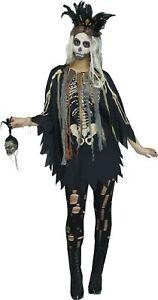 Voodoo Priesterin Damen Poncho mit Skelett-Druck und 3D-Knochen Schamanin Umhang