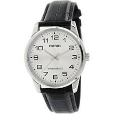 Casio Men's Analog Quartz Stainless Steel Black Leather Watch MTPV001L-7B