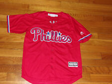 MAJESTIC PHILADELPHIA PHILLIES SCHMIDT BUTTON-FRONT BASEBALL JERSEY BOYS MEDIUM