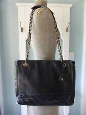 Auth Vintage CHANEL QUILTED  SHOPPING TOTE/ SHOULDER BAG* BLACK LAMBSKIN LATHER*