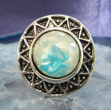 Ring Vintage Style Tibet Silver Sun Wheel Shell Pearl Blue White in Resin