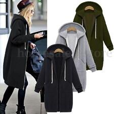 ZANZEA Warm Winter Lady Long Sleeve Hooded Cardigan Zip Up Jacket Coat Plus Size