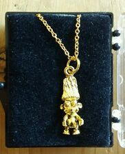 """VINTAGE GOLD TONE NAKED TROLL DOLL PENDANT 18"""" NECKLACE ~ 1980's JEWELRY~ MINT"""
