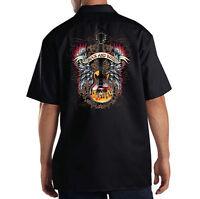 Dickies Black Mechanic Work Shirt Rock & Roll Music Lovers Guitar Wings & Flames