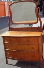 Beautiful Antique Tiger Maple Curved Front Dresser with Detachable Swivel Mirror