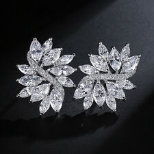Flower Marquise Cubic Zirconia Stud Earrings White Gold Plated Fashion Jewelry