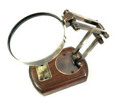 Antikes nautisches Messing Lupe auf Holzsockel Einstellbare Schreibtischlupe