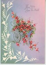 VINTAGE RED AZALEA FLOWER BOTANICAL GARDEN CART PRINT 1 FOLK ART COW AUTUMN CARD