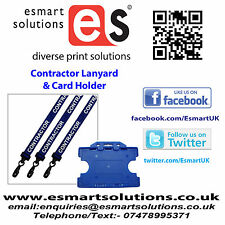 10 x CONTRACTOR Neck Lanyards and Card Holders, BLUE, (FREE P&P)