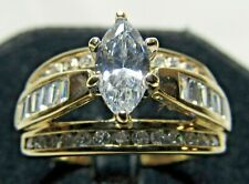 10K Gold Cz Cubic Zirconia Engagement Ring Sz 9.75 Wedding Band Zales 2.25 tcw