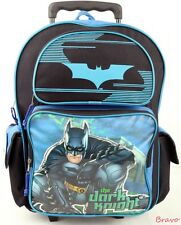 "NWT Brand New Batman 16"" Large Rolling Backpack School Roller Backpack - Blue"