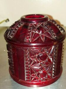 """Top Only Ruby Red Flash Fairy Lamp Stars & Bars Indiana Glass 4 1/8"""" Diameter"""