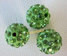 3PCS Sea Green Polymer Clay  Crystal Shamballa Beads Diy Beads Zardenia