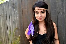 Purple Feather Leather Headband - Can be Customized - Hippie - Festivals - Raves