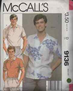 """McCall's Pattern 9136 ©1984 Men's Shirts, Polo, and Button Down, Size D 38"""" FF"""