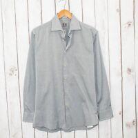 PETER MILLAR Men's Button Front Shirt Gray Oxford Cotton Sz 15 1/2 R