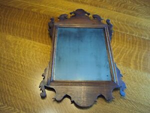 Rare American Chippendale Mahogany Looking Glass Mirror, c1800