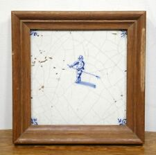 Antique Blue and White DELFT Tile. 17th Century Hand Painted Farmer Framed