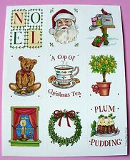 VINTAGE PAPER MAGIC 1 SHEET 9 STICKERS CHRISTMAS SANTA TEDDY BEARS NOEL