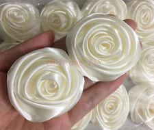 "Lot 24pc 50mm 2"" Ivory Satin Ribbon Rose Flowers DIY Wedding Bouquet Decoration"