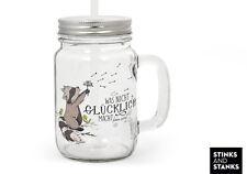Trinkglas mit Strohhalm Glas Waschbär Glück Pusteblume TG009