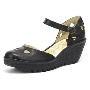 Fly London Yuna Womens Black Leather Wedge Sandals Casual Ladies Summer Shoes